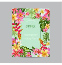 Blooming summer floral frame poster banner vector