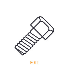 Bolt or fastener outline icon hand work tools vector