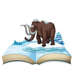 Book of mammoth on iceberg vector image