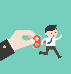 business hand turn on wind up key of tiny vector image