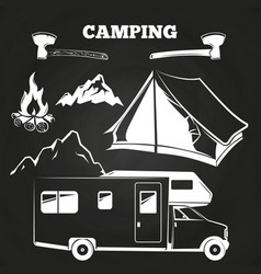 Camping or hiking vintage elements on chalkboard vector