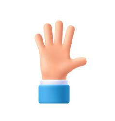 Cartoon character hand goodwill gesture open vector