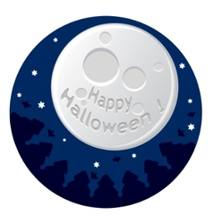 cartoon with scary moon vector image
