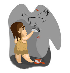 Caveman write on stone vector