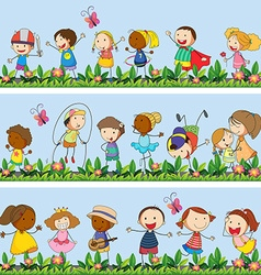 Children playing together in the park vector