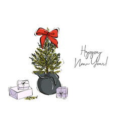 christmas hand-drawn decoration tree branches with vector image