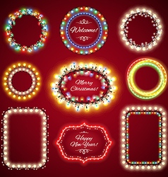 christmas lights frames set vector image vector image