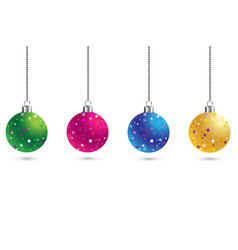 christmas set of balls decoration background with vector image