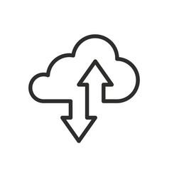 cloud drive storage or cumulus cloud line art icon vector image
