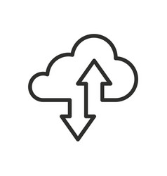cloud drive storage or cumulus line art icon vector image