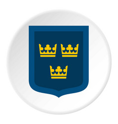 coat of arms of sweden icon circle vector image