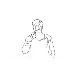 continuous one line man with a microphone in her vector image