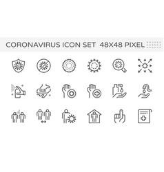 Coronavirus disease and prevention icon set vector