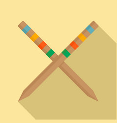 croquet stick icon flat style vector image