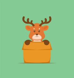 Cute deer playing box cartoon vector