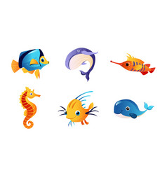 cute friendly sea creatures set colorful marine vector image