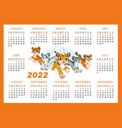 Cute tiger horizontal wall calendar template 2022 vector