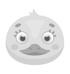 Duck muzzle icon in monochrome style isolated vector