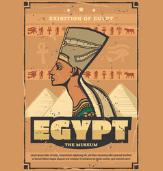 egypt museum poster with egyptian queen nefertiti vector image