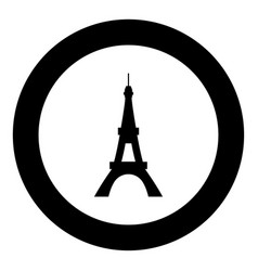 eiffel tower icon black color in circle vector image