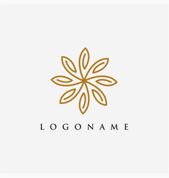elegant floral nature logo icon template vector image