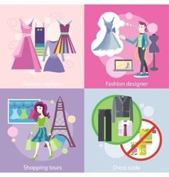 Fashion designer design shopping tour dress code vector