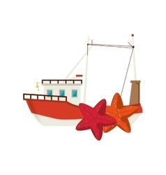 Fishing boat and starfish icon vector