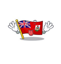 Flag bermuda cartoon on pole tongue out vector