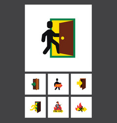 flat icon door set of emergency exit entry and vector image