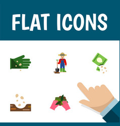 Flat icon plant set of man seed glove and other vector