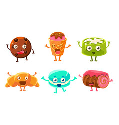 funny desserts cartoon characters set croissant vector image
