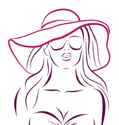 girl in bikini and hat on a white vector image