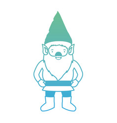 Gnome with costume in degraded green to blue color vector