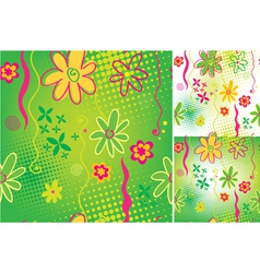 Green floral seamless backgrounds vector
