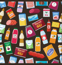 grocery food seamless pattern - colorful vector image