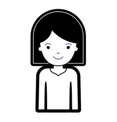 half body woman with hair middle length in black vector image