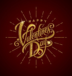 Happy valentines day glitter gold lettering vector image