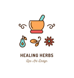 Healing therapy icons ayurvedic medicine logo vector