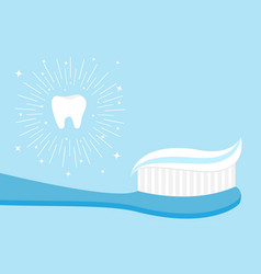 healthy tooth icon set toothbrush with toothpaste vector image