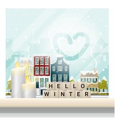 Hello winter cityscape background vector