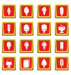 Ice cream icons set red square vector