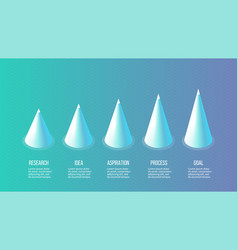 isometric infographics bar chart graph with 5 vector image