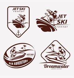 Jet ski set stylized symbols emblem and label vector