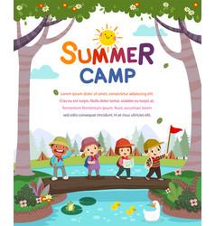Kids summer camp poster vector