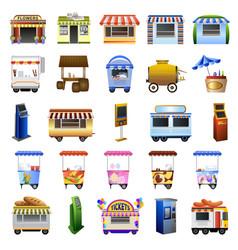 Kiosk icons set cartoon style vector