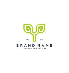 Leaf letter y logo design vector