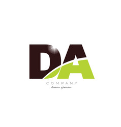 Letter da d a alphabet combination in green and vector