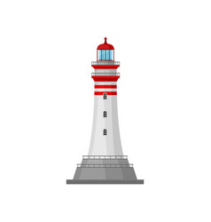 Lighthouse with stripes on pedestal vector