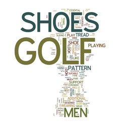 Mens golf shoes text background word cloud concept vector