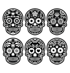 Mexican sugar skull dia de los muertos black icon vector